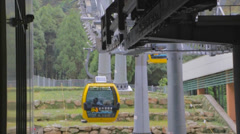 Cable cars arriving at  formosan aboriginal culture village Stock Footage