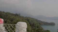 Pan of sun moon lake from wen wu temple 2 Stock Footage