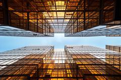 Symmetrical mirrored office buildings, Hong Kong Stock Photos