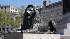 Bronze Lion Statue in Trafalgar Square Stock Footage
