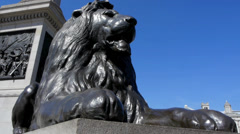 Lion statue in Trafalgar square, low angle Stock Footage