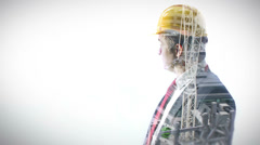 Portrait of businessman wearing hard hat on white background with city visual - stock footage