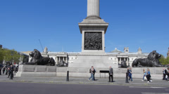 Nelsons Column in Trafalgar Square 24 fps Stock Footage