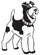 fox terrier black white - stock illustration