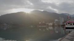 Sunrise emerald lake boat at ita thao pier Stock Footage
