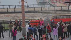 People take photos at shueshe pier Stock Footage