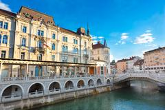 Triple bridge, Ljubljana, Slovenia, Europe. - stock photo