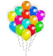 set colorful balloons on white background - stock illustration