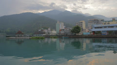 Early morning - time lapse at ita thao pier - sun moon lake Stock Footage