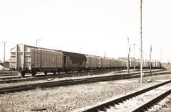 Train on the siding Stock Photos
