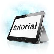 Stock Illustration of Education concept: Tutorial on tablet pc computer