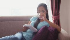 9of22 Asian girl at home with computer, phone and book Stock Footage