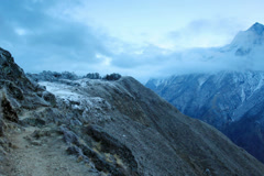 4K. Timelapse sunrise in the mountains Everest (8848м),  Himalayas, Nepal. Stock Footage