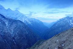 4K. Timelapse sunrise in the mountains Thamserku, Himalayas, Nepal Stock Footage