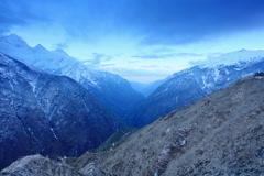 4K. Timelapse sunrise in the mountains Thamserku, Himalayas, Nepal.  Stock Footage
