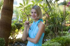 Woman in blue toga - stock photo