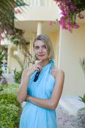 Woman in blue toga Stock Photos