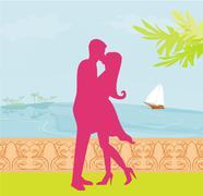 Silhouette couple on tropical beach Stock Illustration