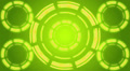 Yellow futuristic circles on green background, loop Footage