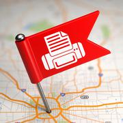 Printer Sign - Small Flag on a Map Background. Stock Illustration