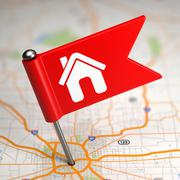 House Sign - Small Flag on a Map Background. Stock Illustration