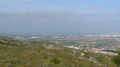 Panright to Valencian coast from mediterranean mountains at Irta Stock Footage
