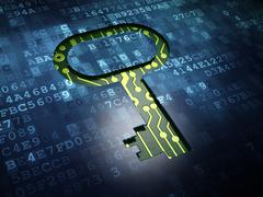 Security concept: Key on digital screen background - stock illustration