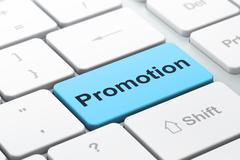 Stock Illustration of Marketing concept: Promotion on computer keyboard background