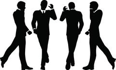 eps 10 vector illustration of business people walking with briefcase silhouet - stock illustration