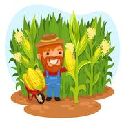 Harvesting farmer in a cornfield Stock Illustration