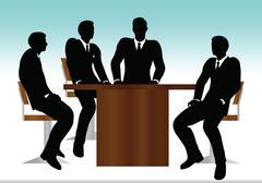 eps 10 vector illustration of business people meeting sitting silhouette - stock illustration