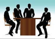 Stock Illustration of eps 10 vector illustration of business people meeting sitting silhouette