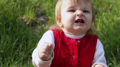 Dancing and singing along old child in nature - stock footage
