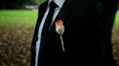 Groom wearing a rose on his tux waiting in garden Stock Footage