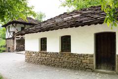 typical bulgarian street from the period of ottoman empirical, etara, bulgari - stock photo