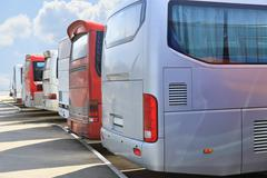 buses on parking - stock photo