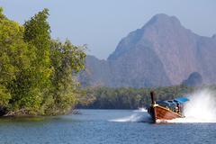 speedboat in the pang nga bay - stock photo