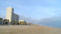 Mediterranean beach facing north with hotels Stock Footage