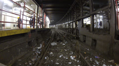 Subway train pull up and stop in New York City Stock Footage