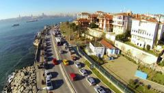 Uskudar - Harem Street, Bosporus and Maidens Tower of Istanbul Stock Footage