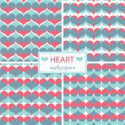 Romantic heart wallpaper set Stock Illustration