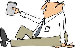 Businessman begging for change Stock Illustration
