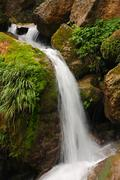 Pure fresh water waterfall running over mossy rocks in the forest Stock Photos