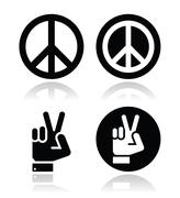 Peace, hand gesture vector icons set Stock Illustration