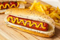 organic all beef hotdog - stock photo