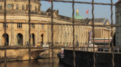 Berlin Museum Island, Bode museum - through the fence - train passing Stock Footage