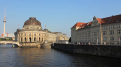 Berlin Museum island, skyline, Bode Museum, Spree river and TV-tower Stock Footage