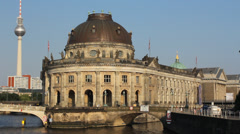 Berlin Museum island - Bode Museum and Tv-tower Stock Footage