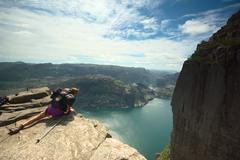 Preikestolen (pulpit rock) over the lysefjord in norway Stock Photos