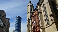 Jena city with Intershop tower and St. Michael - stock footage